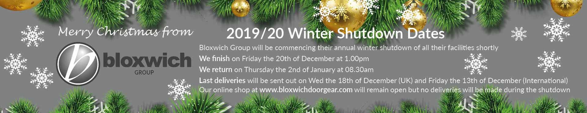 Website banner for the 2019/2020 bloxwich group winter shutdown dates